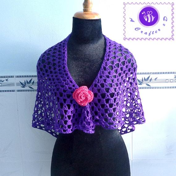 Crocheted purple glam shawl