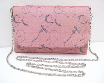Silk Evening Bag in pale pink with silver chain shoulder strap.
