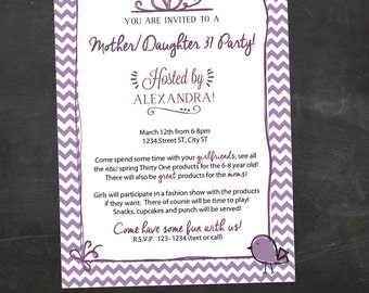 Mother-Daughter Purple Chevron, Thirty-One (31) Printable Party Invitation  - Custom Printable File