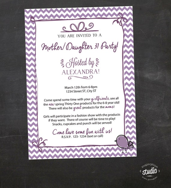 Items similar to MotherDaughter Purple Chevron ThirtyOne 31 – Thirty One Party Invites
