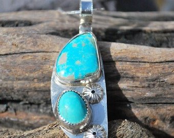 Turquoise Necklace - Turquoise Pendant - Blue Turquoise Necklace - Boho Jewelry - Southwestern Jewelry - Sterling Silver Necklace - Necklace