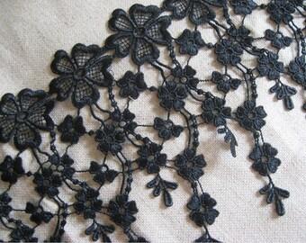 Black Venise lace trim with fringe  , bridal trim lace