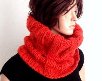 Knitted Orange Cowl/ Winter Neckwarmer