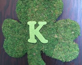 "New PERSONALIZED   XL St Patricks Day Wreath, Lucky Irish Wreath,18""  St Pattys Day Wreath, Moss Shamrock, XL Shamrock Wreath"