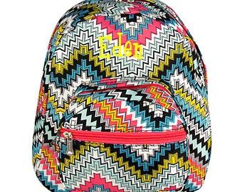 Child's Backpack School Bag Girls Backpack Monogrammed Backpack Zig Zag with Hot Pink Trim
