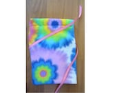 Colorful Flower Fleece Reusable Gift Fabric Bag with Ribbon Tie