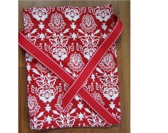 Gift Bag Traditional Red and White Damask Reusable