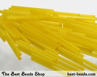 15g (70pcs) Silky Yellow Bugle Beads 30mm Czech Glass Seed Beads