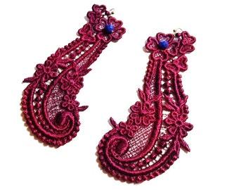 SALE- Sweet Emotion Lace Earrings in Maroon