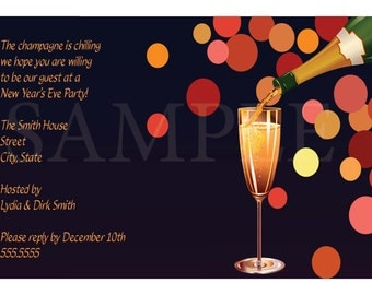 Fancy New Year's Eve Champagne Party Invitation