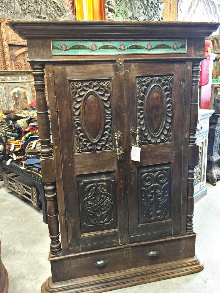 Teak Wood Antique Armoire With Brass Knocker By Mogulgallery