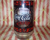 Vintage 80's Coca Cola/ Shakey 's Pizza  Stained glass drinking glass