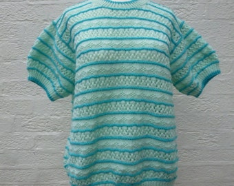 Striped green and blue wool blend knit top. 1980s handknitted vintage womens medium size clothing. Short sleeved pastel colour tank top.