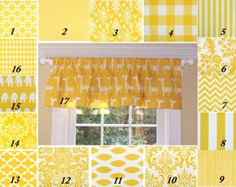 Yellow Valance.Premier Prints Fabric,Valance.One Curtain Panel.Curtain.Window Treatment.Drapes.Custom Curtains.Corn Yellow.Slub