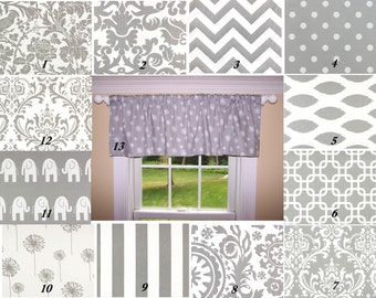 Grey Valance.Premier Prints Fabric,Valance.One Curtain Panel.Curtain.Window Treatment.Drapes.Custom Curtains.Storm Grey