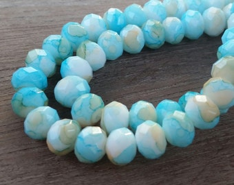 Crystal Faceted Rondell Beads, jewelry supplies, Blue Swirl beads, qty.30 beads