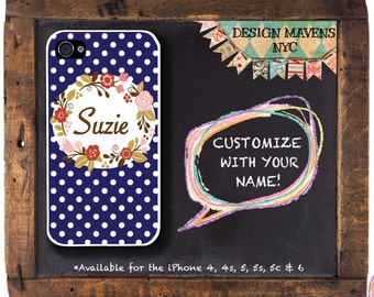 Pretty Polka Dot iPhone Case, Personalized iPhone Case, Fits iPhone 4, iPhone 5, iPhone 5s, iPhone 5c, iPhone 6, Phone Cover
