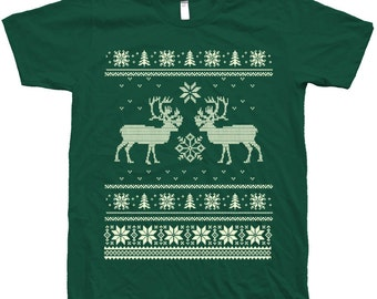 Ugly Christmas Sweater Custom Hand Screen Printed on American Apparel Crew Neck