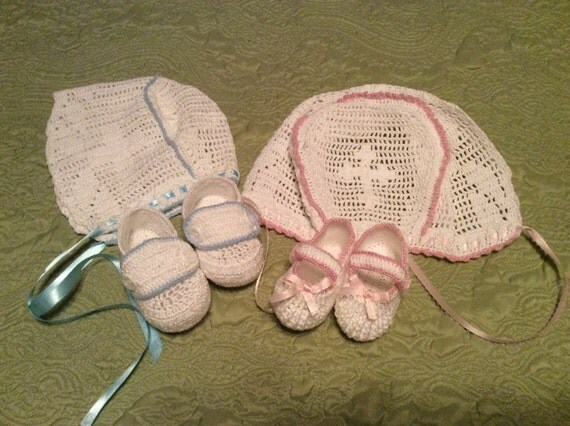 Easy Crochet Baby Boy Clothes Patterns : Baby boy or girl crochet christening bonnet and booties in 2