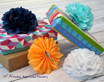 Paper Flower Clips, Pack of 4 Size Medium Choose Your Own Colors