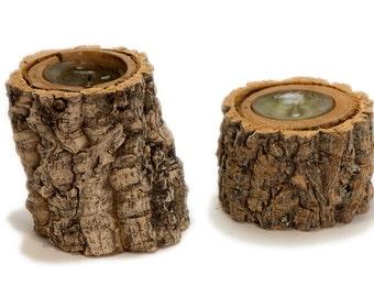Natural rustic amur cork bark tea light candle holder