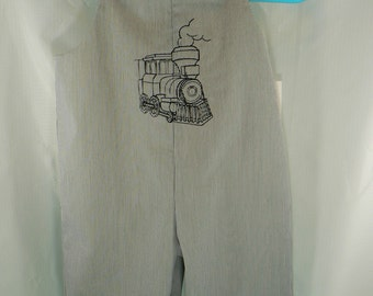 1T or Large 22 to 25 LBS Infant boy's train embroidered long overalls