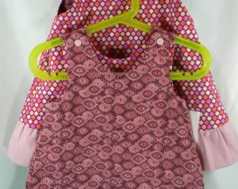 Reversible Dress, jumper, pinafore, sundress in Toddler and Kids Sizes Sunburst and Geometric with ruffle