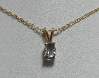 Estate 14 kt. Yellow Gold and Blue Topaz Necklace