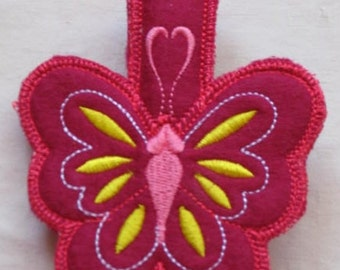 Magnetic Refrigerator Magenta Butterfly Note Holder