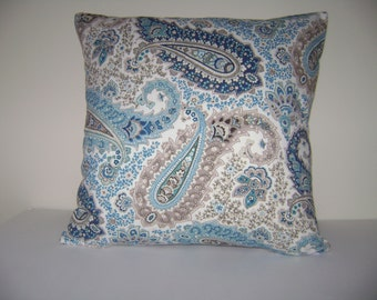 Paisley Pillow Cover, SALE 16''x16'' Blue/Brown Paisley Pillow Cover, Ships Fast, Beach Decor Pillow Cover