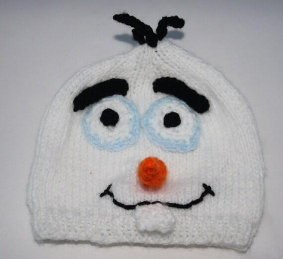 Knitting Pattern Olaf Hat : Olaf hand knitted baby beanie Preemie baby hat by sweetygreetings