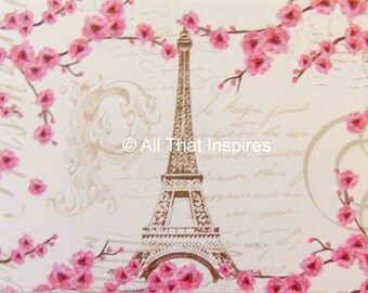 """Fine Art Photography - Print - Eiffel Tower - Paris Photo - Home Decor -  """"Pink Air in Spring"""" - You Choose the Size"""
