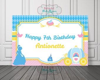 PRINTED, Cinderella Backdrop | Cinderella Birthday Vinyl Backdrop or Poster | Cinderella Birthday Backdrop