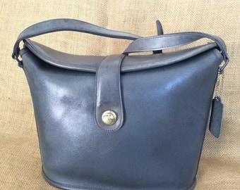 Vintage COACH navy blue leather shoulder bag with adjustable strap cross body