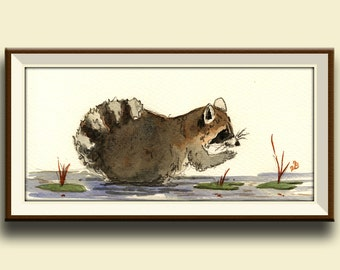 PRINT-Raccoon in the forest- cute animal raccoon art wall decor- print from watercolor painting - Art Print by Juan Bosco