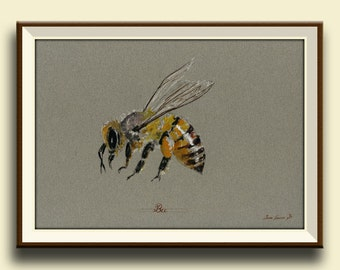 PRINT-Bee Honey insect art drawing  print watercolor painting art wall insect bee - Bee Art -Art Print by Juan Bosco
