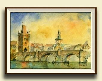 PRINT-Prague Charles Bridge the Vltava river - Czech Republic-  city  architecture cityscape  - Art Print by Juan Bosco