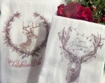Cotton Flour Sack Towel - Christmas Towel - Kitchen towel - Hostess Gift - dish towel - 100% cotton - Deer Merry Christmas - Christmas Gift