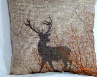 Burlap Deer Pillow -Fathers Day Gift - Fall pillow - Buck - Stuffed ready to use - animal pillow - animal print pillow - accent pillow