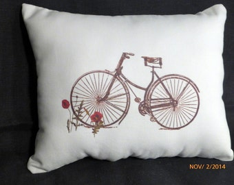 Vintage Bicycle Pillow -  Red Poppies -  10x13 stuffed ready to use - Bike pillow - Paris pillow