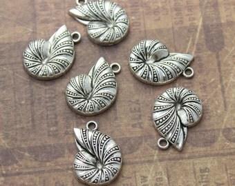 10 Nautilus Charms Seashell Pendants Antiqued Silver Tone 17 x 23 mm