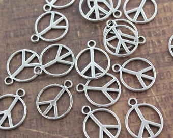 10 Peace Sign Charms Peace Sign Pendants Antiqued Silver Tone Double Sided 13mm
