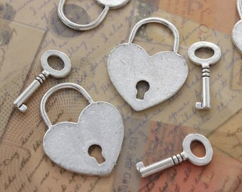 5 Sets of Heart Skeleton Key and Lock Charms Antique Silver Tone Double Sided