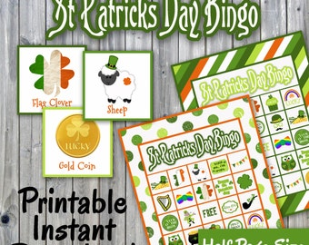 St Patricks Day Bingo Printable PDF - 30 different Cards - Half Page Size - Memory Game - Party Game Printable - INSTANT DOWNLOAD