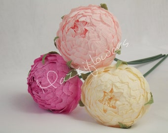 Wedding flowers,wedding bouquet,wedding peonies,paper flower bouquet,ivory,pink peonies 3pcs,paper flowers,bridal flower,peonies bouquet,