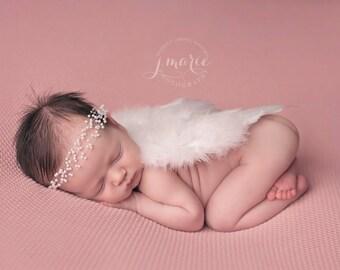 Mini Adelaide Pearl Tie Back • Mini Adelaide Headband • Newborn - 12 months | Ready to Ship