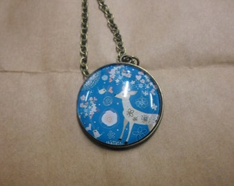 Festive deer pendant necklace