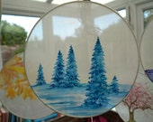 Tree Art Christmas Decor silk window ornament blue watercolor tree art winter forest small painting nature christmas decor zen snowy forest