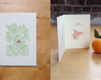 Single Letterpress Linocut Seasonal Notecard, Spring Summer Fall Winter