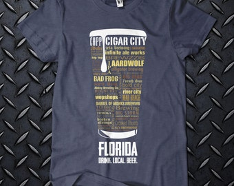 FLORIDA Typography Graphic T-shirt for Homebrewer Craft Beer Lover Perfect for Birthday Christmas Fathers Day Beer Festival Gift Drink Local